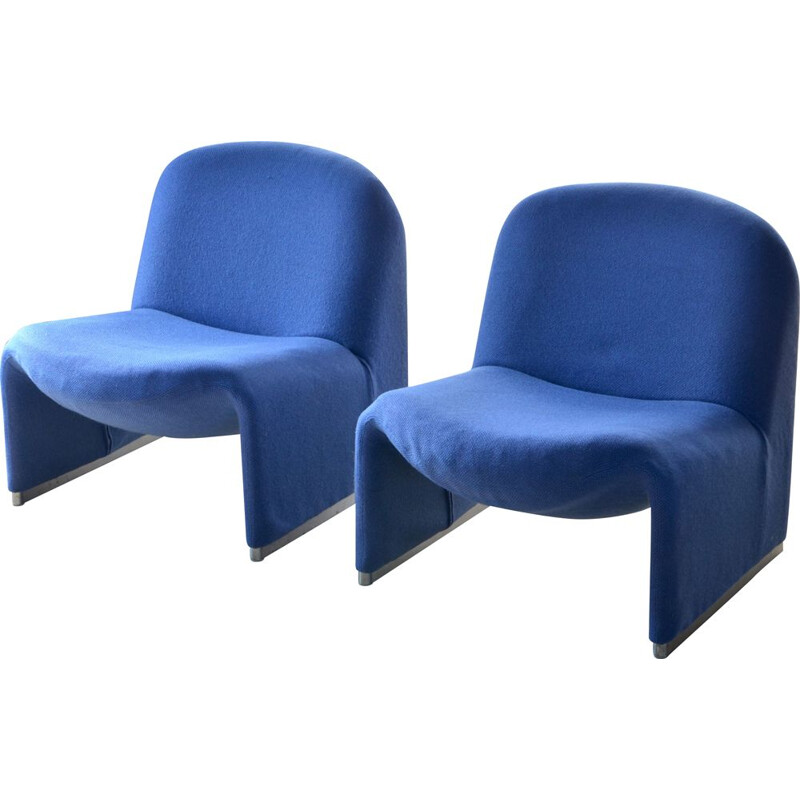 Vintage pair of Alky armchairs by Piretti for Castelli in blue fabric 1960