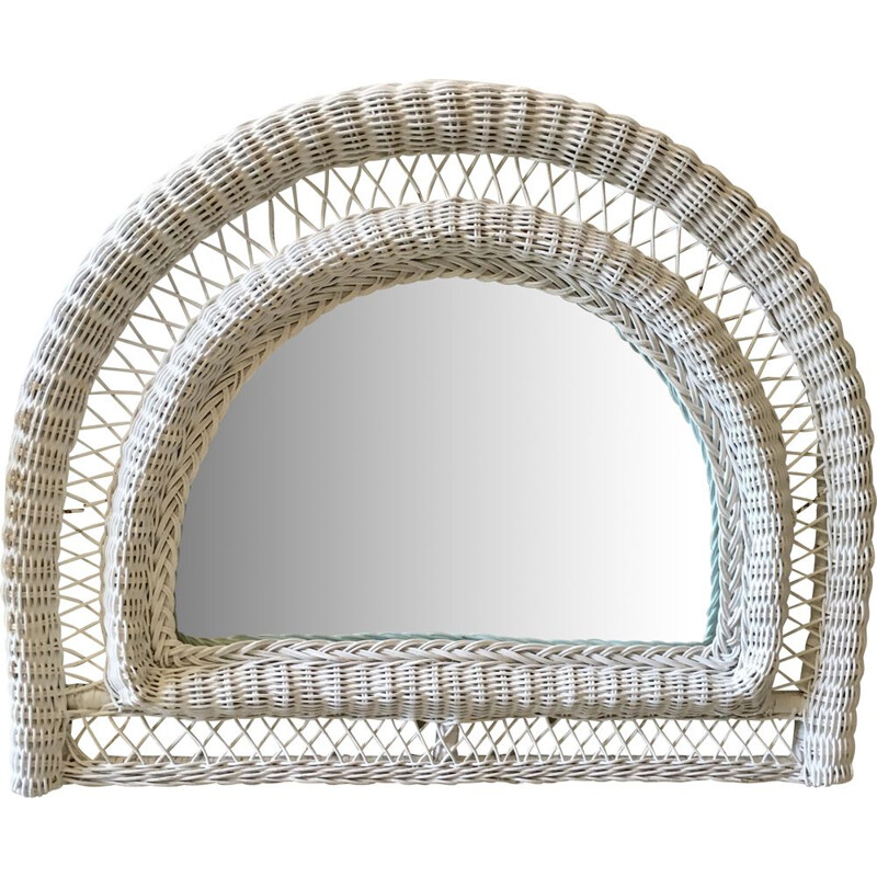 Vintage mirror in white rattan half-moon France 1970s