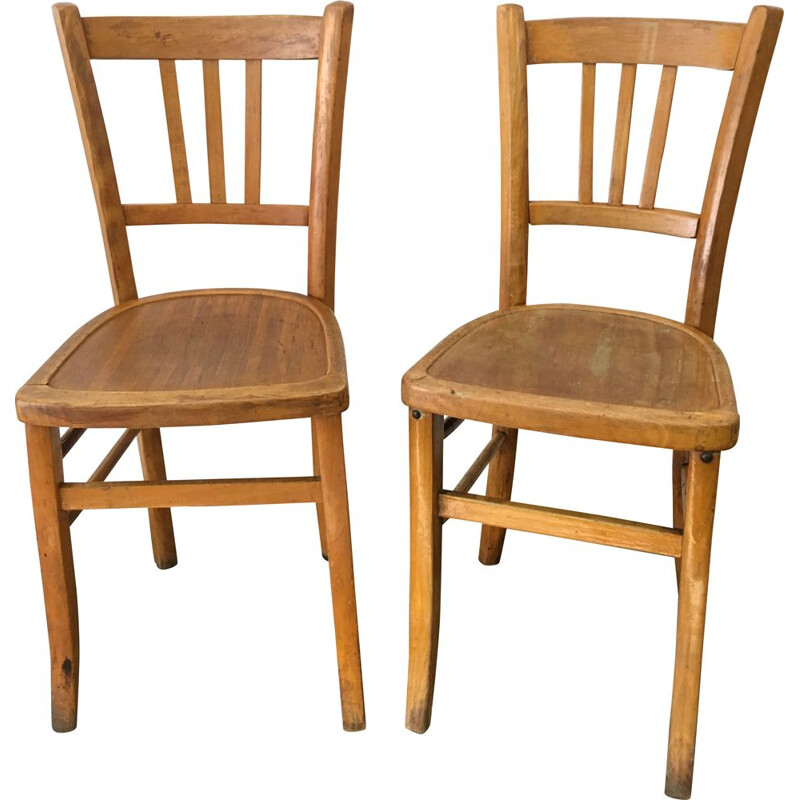 Pair of vintage bistro chairs by Luterma France 1950s