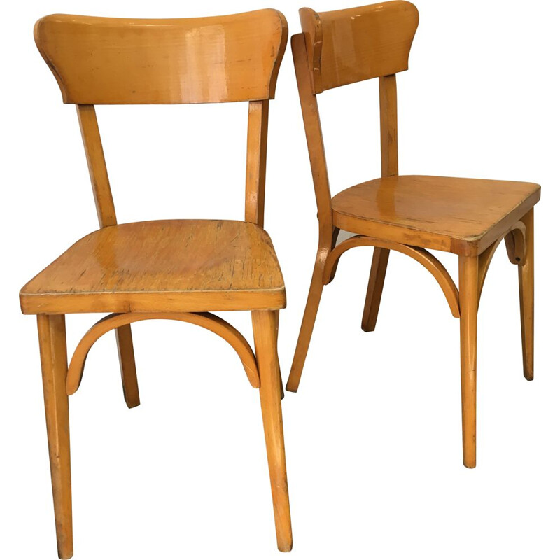 Pair of vintage chairs bistro in wood France 1960s