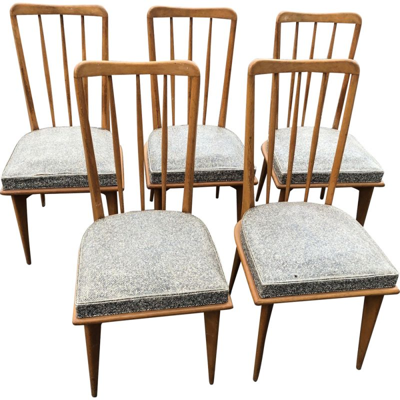 Set of 5 vintage chairs in vinyl and wood 1950