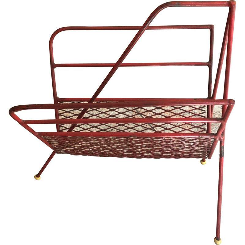 Vintage red metal magazine rack 1950