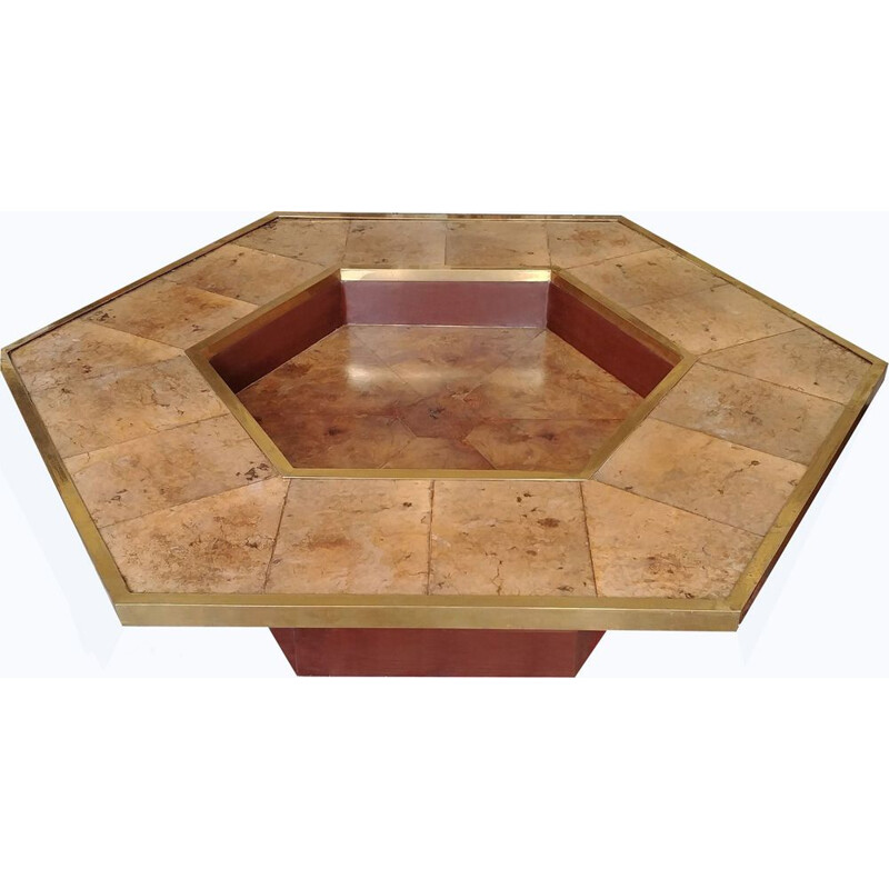 Hexagonal vintage coffee table in brass burlwood and leather 1970