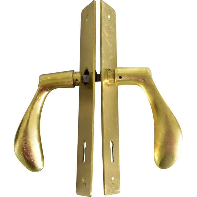 Set of 2 vintage door handles by Arne Jacobsen in brass 1950s