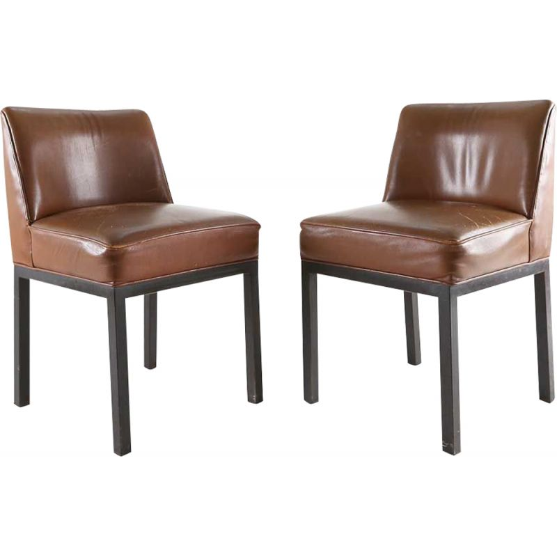 Set of 2 vintage Louise chairs by Jules Wabbes in black metal and brown leather 1960s