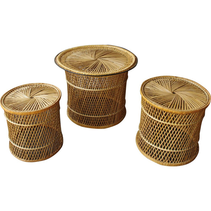 Vintage set of wicker peacock stools and table 1960