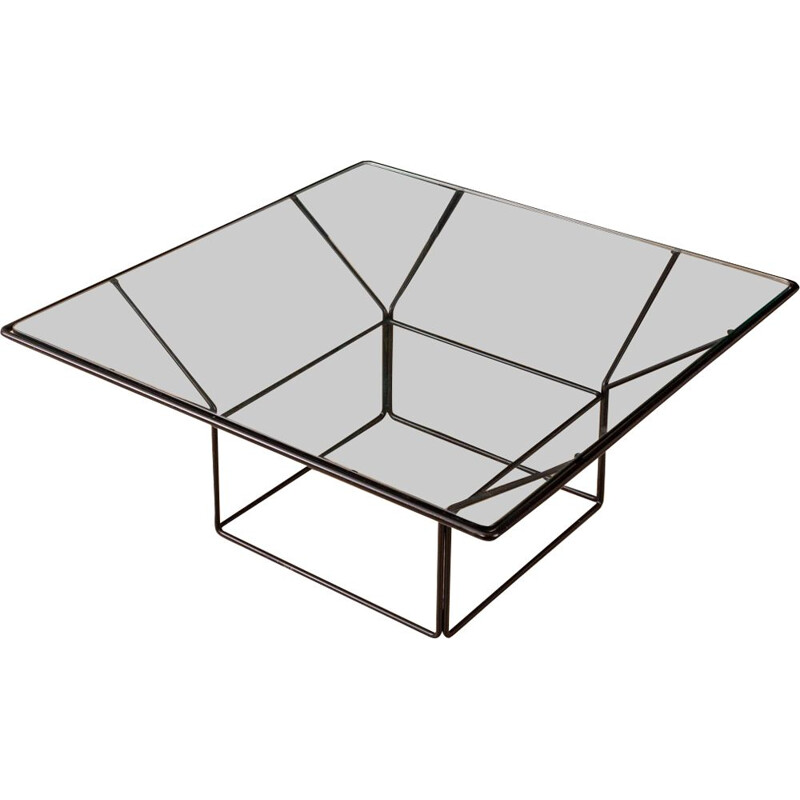 Vintage german coffee table in glass and iron 1970s