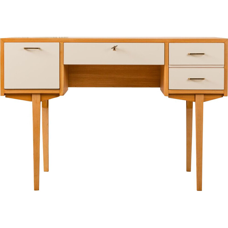 Vintage german desk in white formica and ashwood 1950s