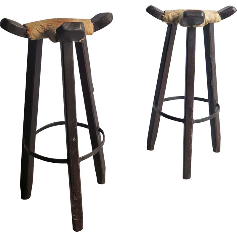 Set of 2 vintage high stools in cow leather and wood 1930s