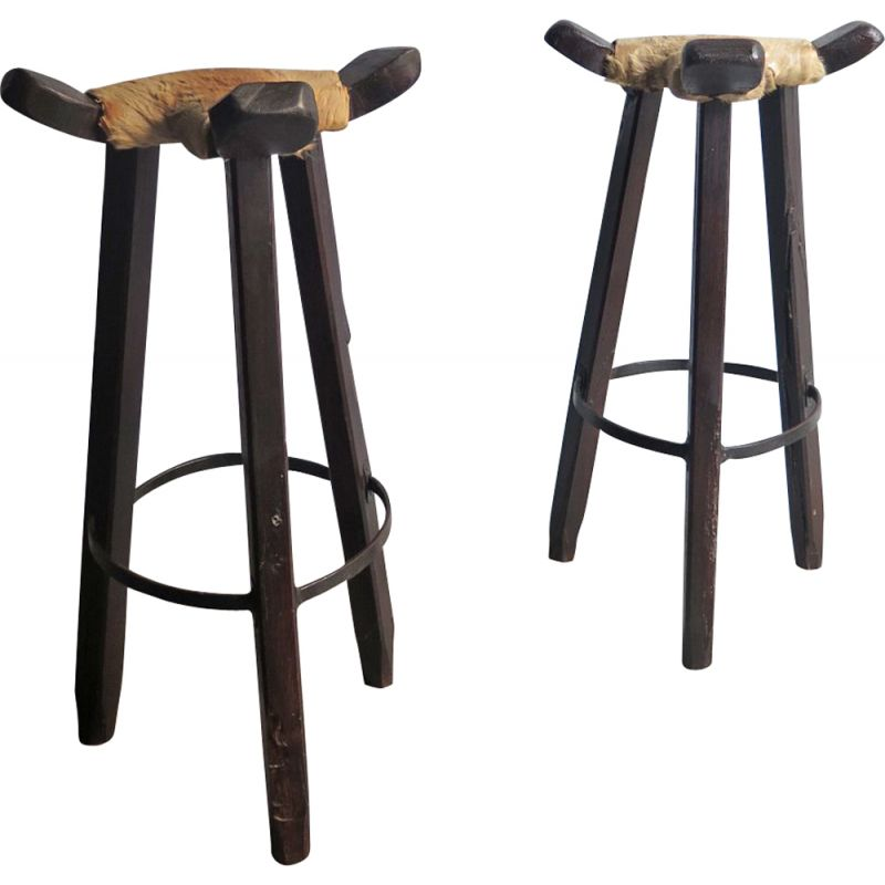 Surprising Set Of 2 Vintage High Stools In Cow Leather And Wood 1930S Ocoug Best Dining Table And Chair Ideas Images Ocougorg