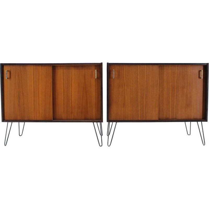 Set of 2 vintage Danish upcycled teak cabinet