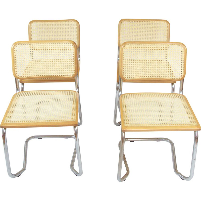 Set of 4 vintage chairs chrome and beech