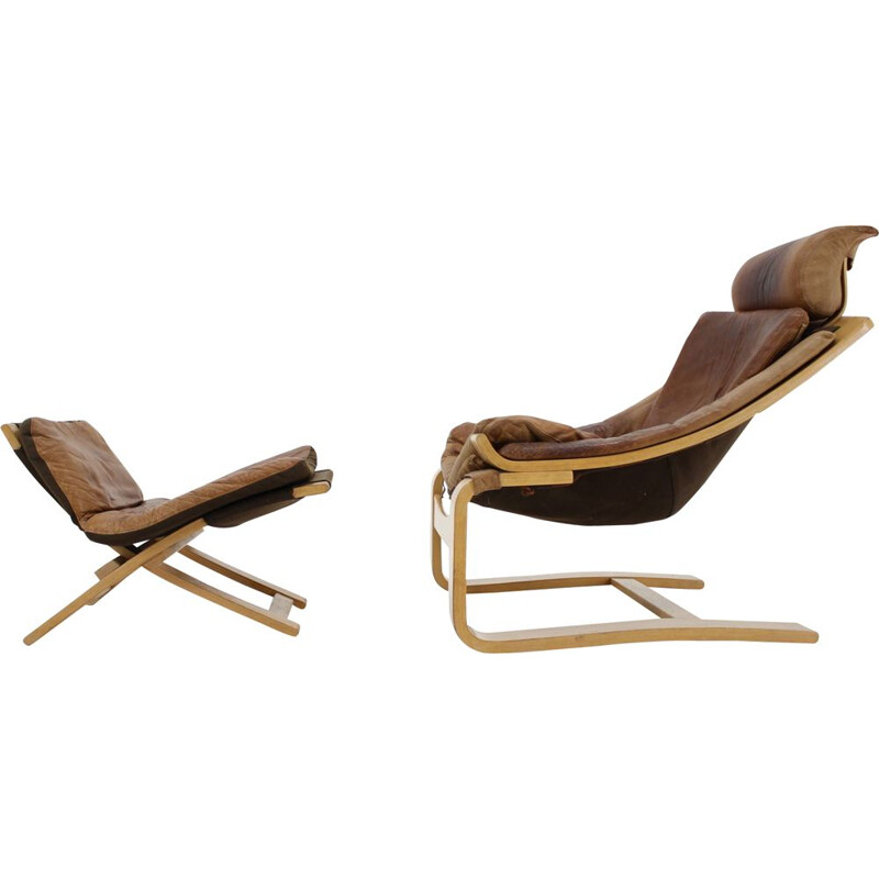 Kroken Leather Lounge Chair and foot stool by Ake Fribytter for Nelo 1970s