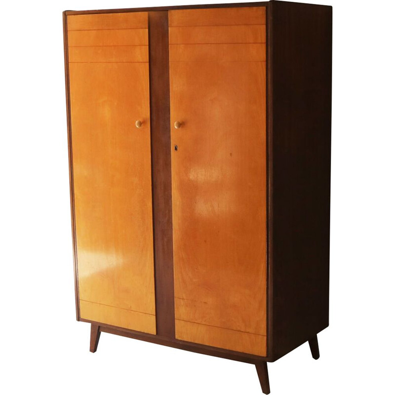 Vintage maple veneer and teak large wardrobe 1960
