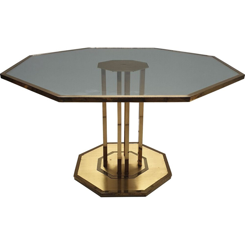 Vintage brass & glass octagonal coffee table 1970s