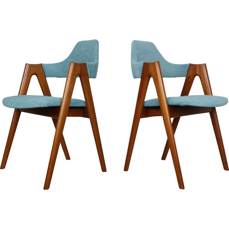 Set of 4 vintage Teak Compass Chairs by Kai Kristiansen for SVA Møbler