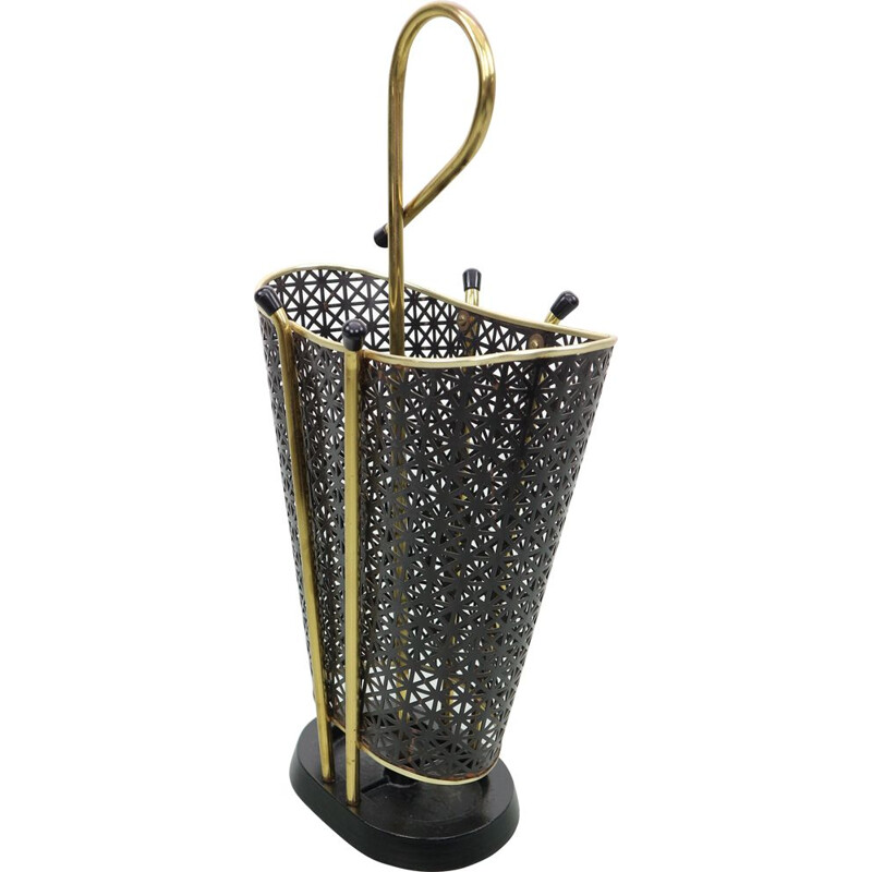 Vintage Perforated brass Umbrella Stand 1950s