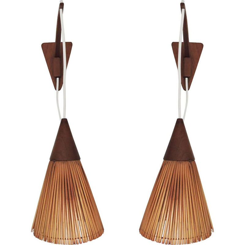 Pair of Teak Wall Lamps 1960s