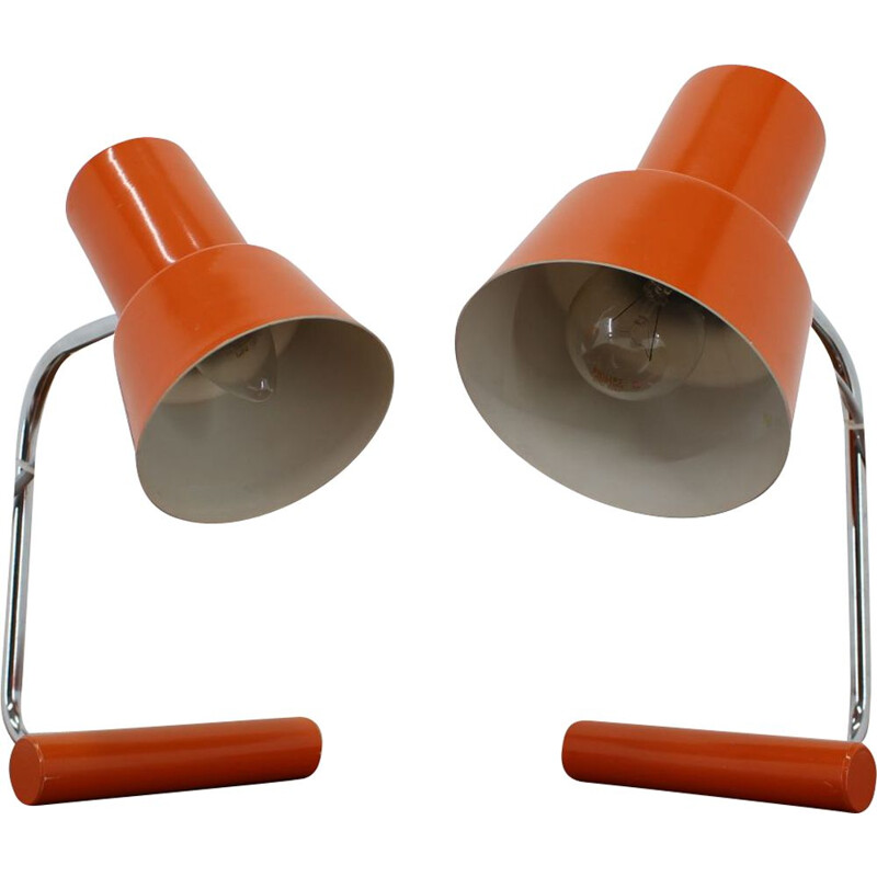 Pair of vintage Orange Table Lamps for Napako by Josef Hurka 1970s