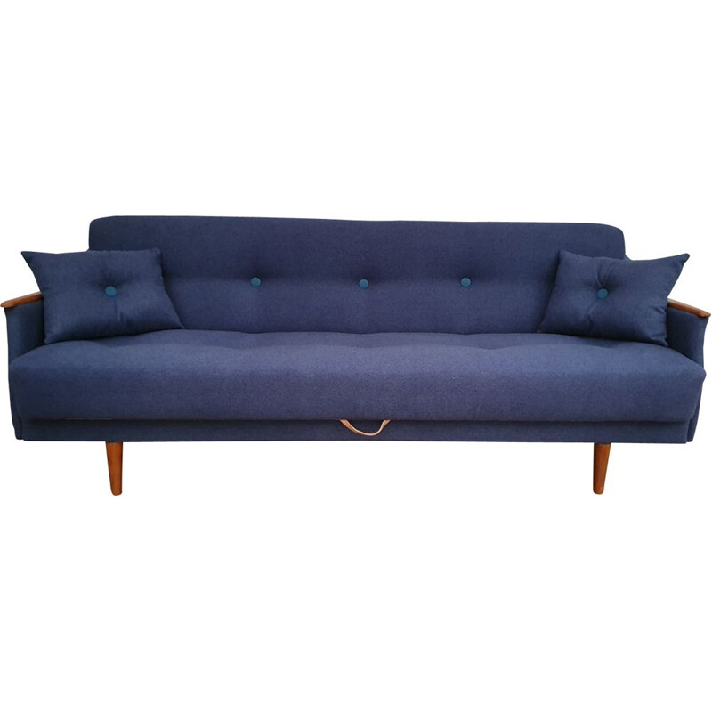 Vintage 3-seater sofa in teak and blue fabric
