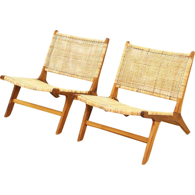 Pair of vintage Danish lounge chairs in cane and rattan