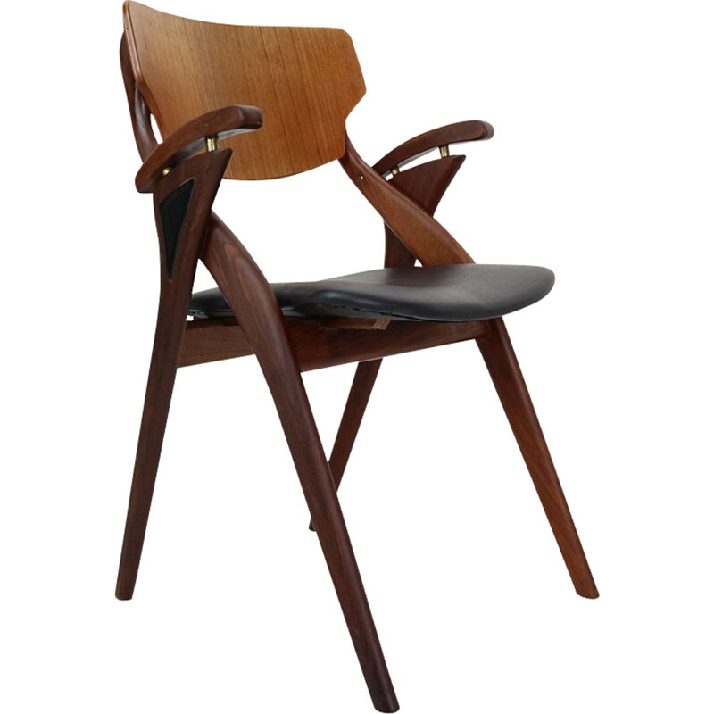 Vintage teak and black leather chair by Arne Hovmand-Olsen