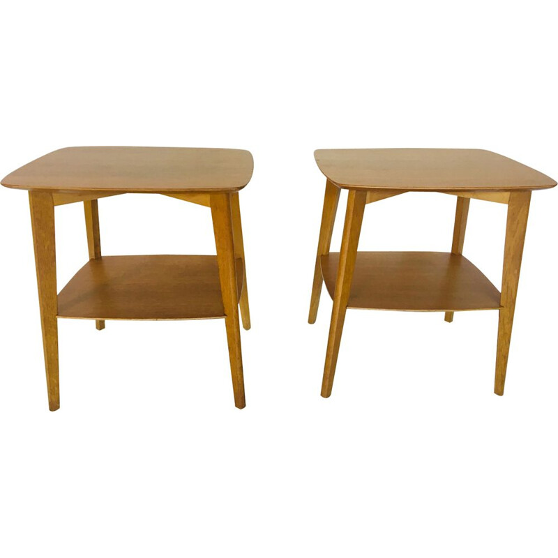 Pair of vintage oak bedside tables by Roger Landault