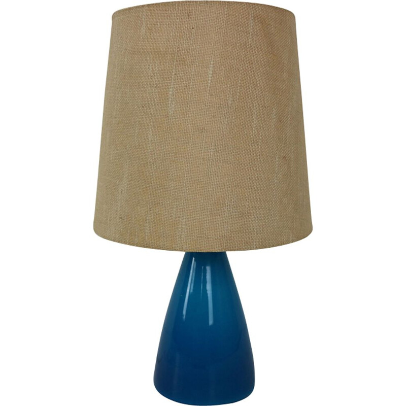 Vintage blue lamp in glass by Kastrup Holmegaard