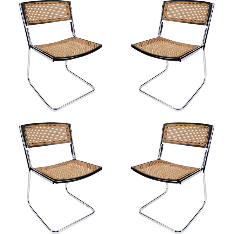 Set of 4 vintage Cantilever chairs in chromed metal
