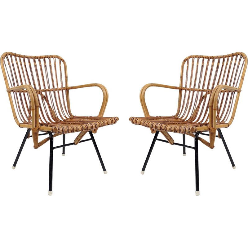 Pair of vintage Dutch rattan armchairs