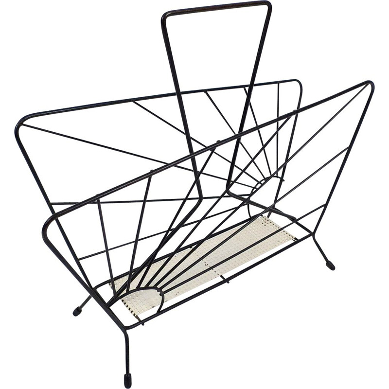 Vintage magazine rack in metal and black iron