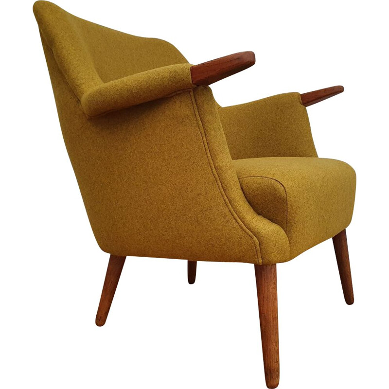 Vintage Danish armchair in teak and yellow wool