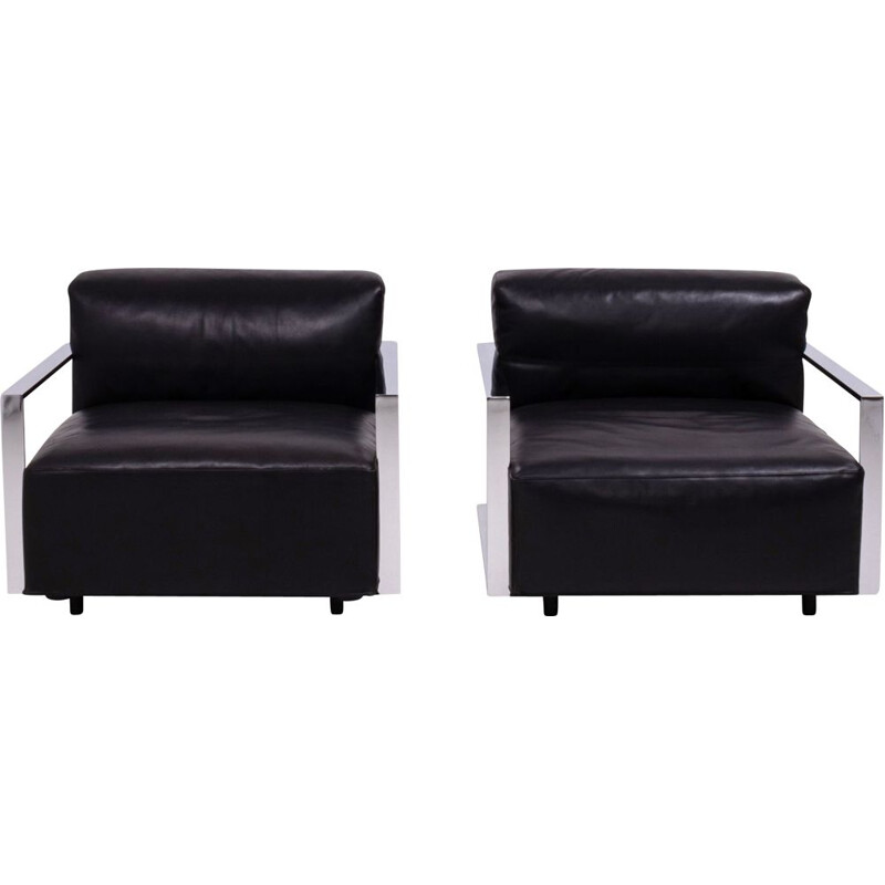 Pair of St Marin armchairs in black leather by Baleri