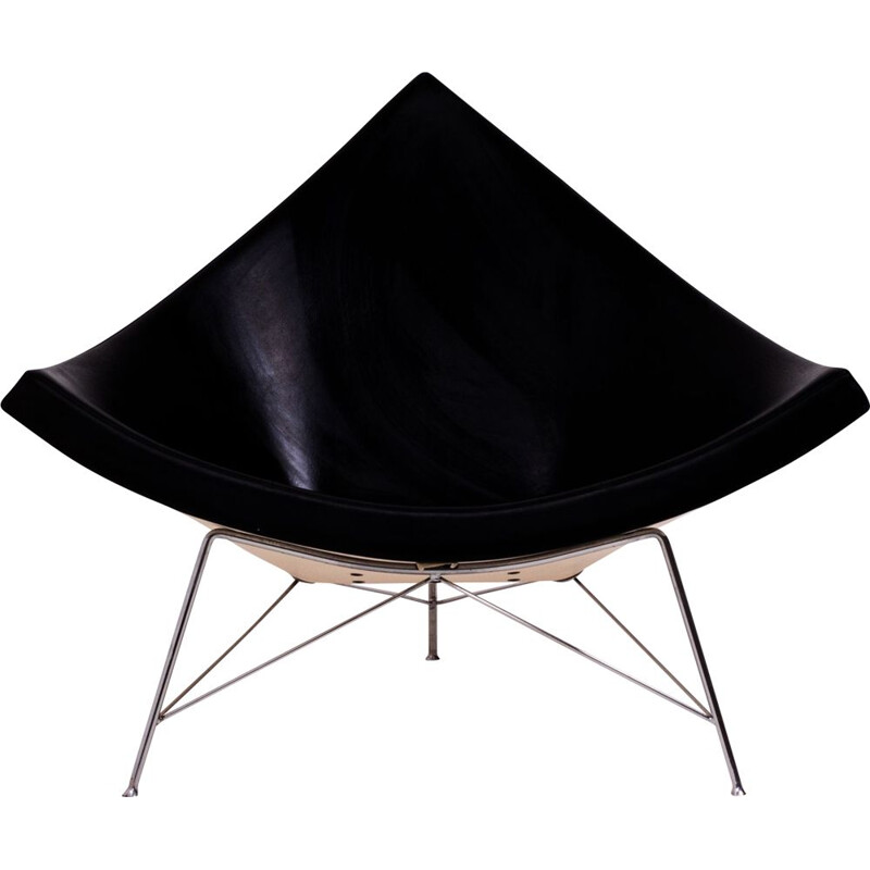 Coconut chair in black leather by George Nelson for Vitra