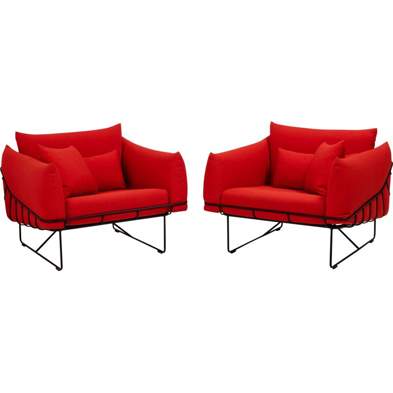 Set of 2 vintage Wireframe lounge chairs for Herman Miller in red fabric