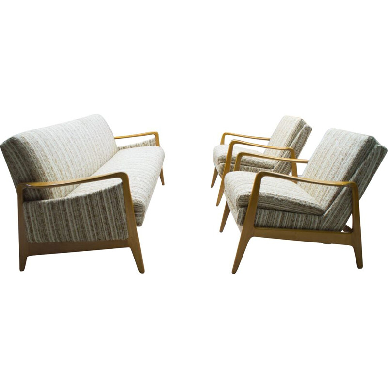 Vintage scandinavian living room set in wood and fabric 1960s