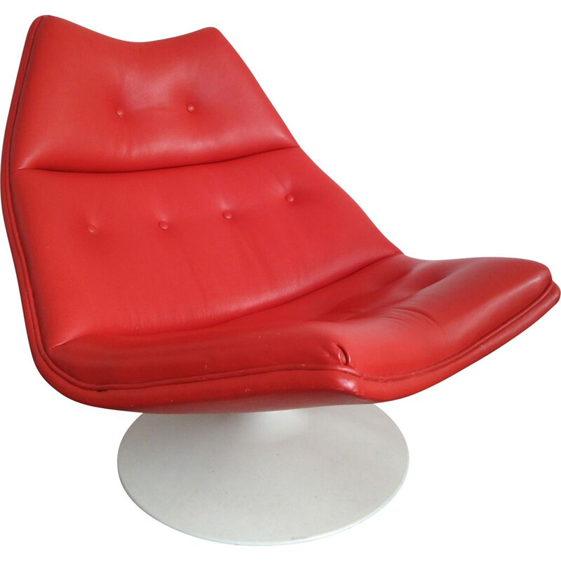 Vintage F511 lounge chair for Artifort in red leather and plastic 1960s