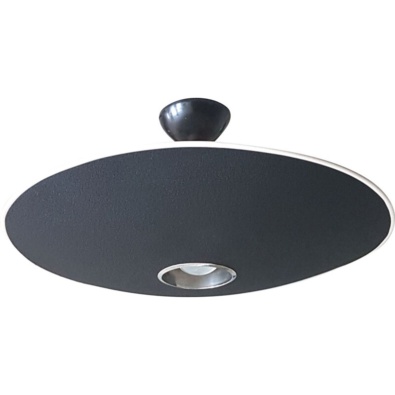 Vintage UFO ceiling lamp by Louis Kalff for Philips in black aluminium 1960s