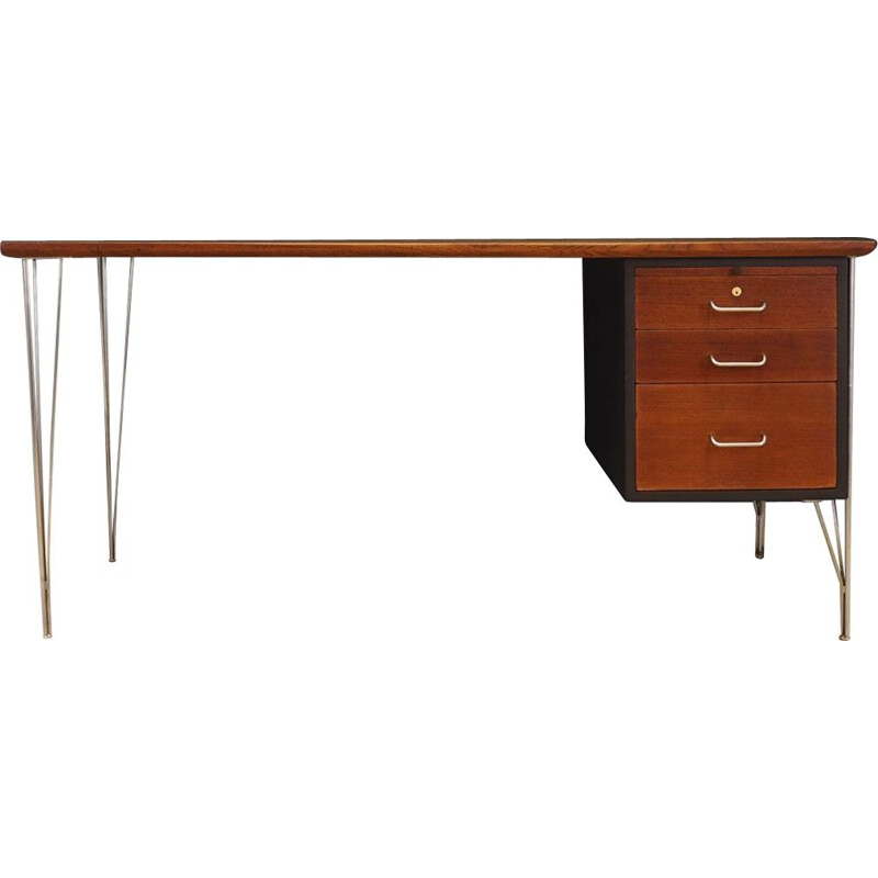 Vintage desk by Heinrih Roepstorff in teakwood and steel 1970s