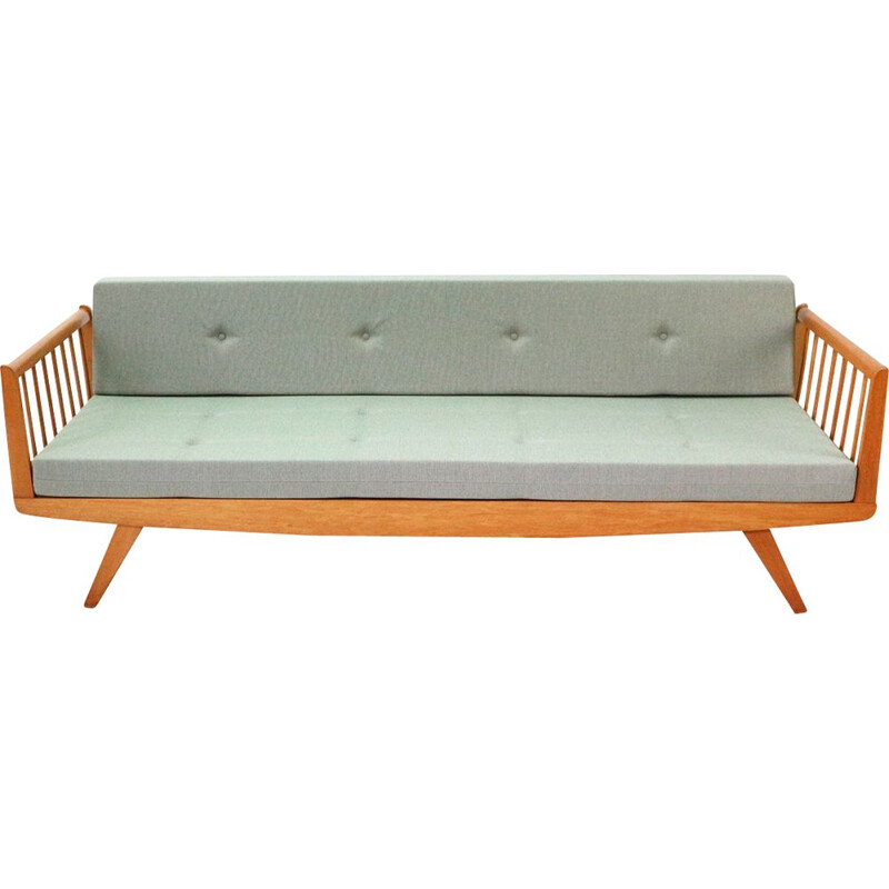 Vintage upholstered 50s beechwood day bed