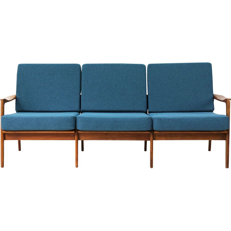 Vintage reupholstered 60s Cherrywood Sofa in teal