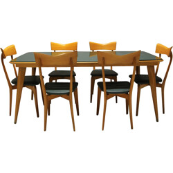 Colombo Cantu birch, glass and green leatherette dining set, Ico PARISI - 1945