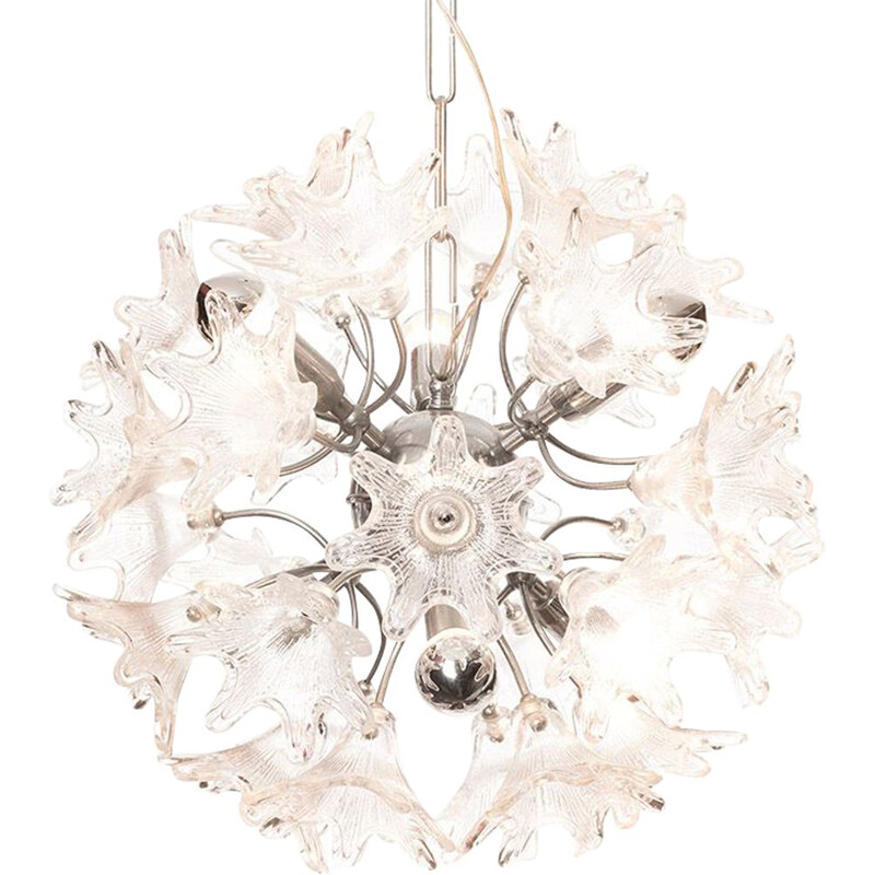 Vintage Venini flower chandelier for VeArt 1960s