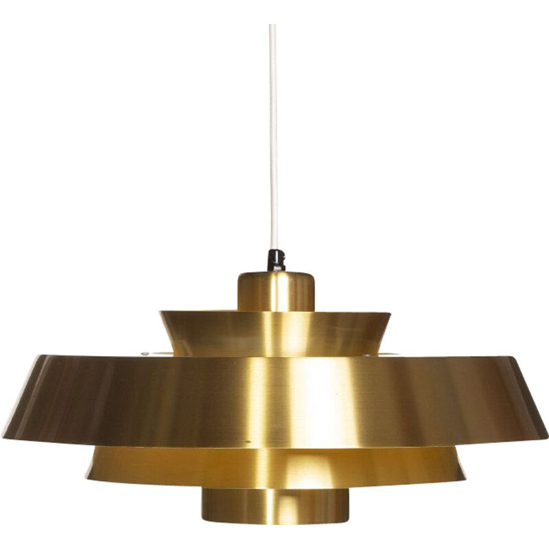 Vintage Brass Nova Ceiling Lamp by Johannes Hammerborg for Fog & Morup 1960s