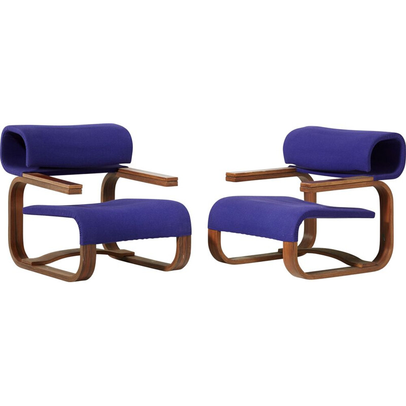 Pair of walnut and rosewood armchairs by Jan Bocan 1972