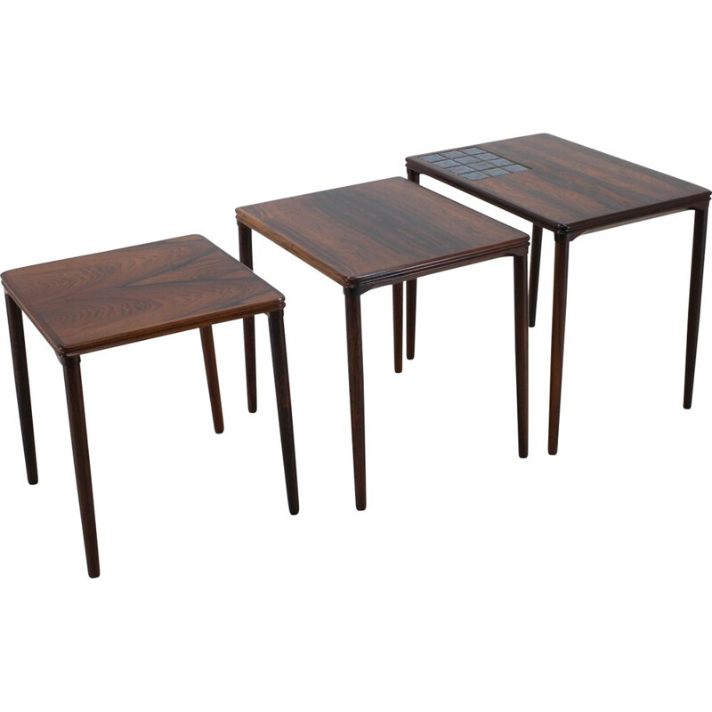 Vintage rosewood and Tile Nesting Tables 1960s