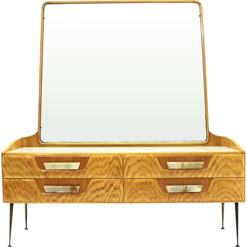 Vintage wooden chest of drawers with mirror 1950s