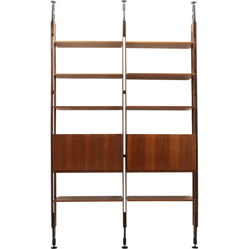 Vintage Giraffa bookcase for Arform in wood and brass 1960s