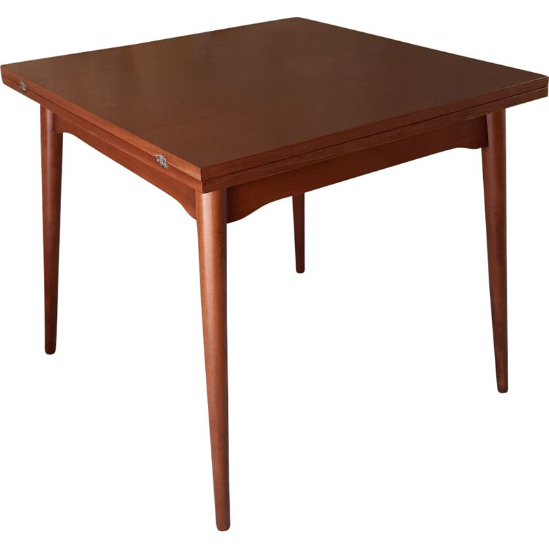 Expandable square vintage table for Cesky Nabytek in beech 1960