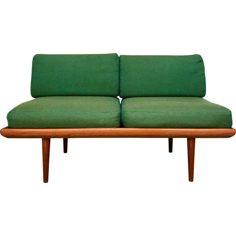Vintage danish Minerva sofa for France & Søn in green wool and teak 1960s